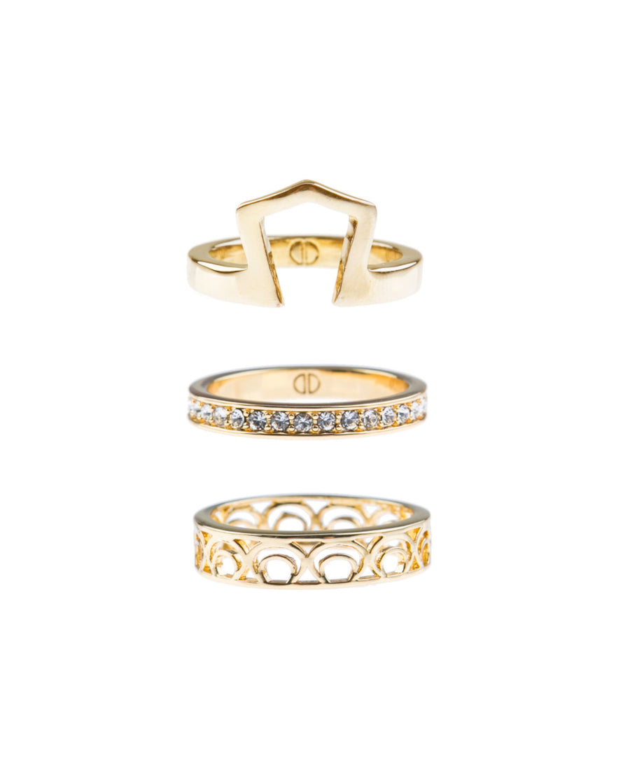 Light Up The Night Fine Ring Set - Gold