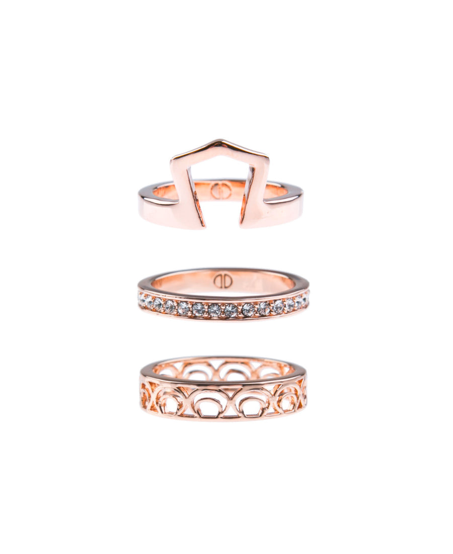 Light Up The Night Fine Ring Set - Rose Gold