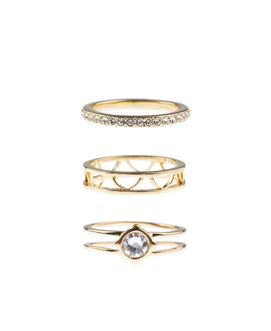 Moments At Midnight Fine Ring Set - Gold