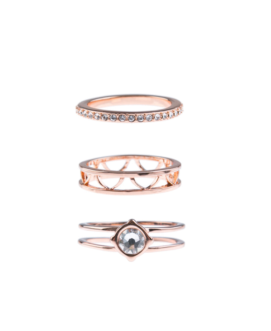 Moments At Midnight Fine Ring Set - Rose Gold