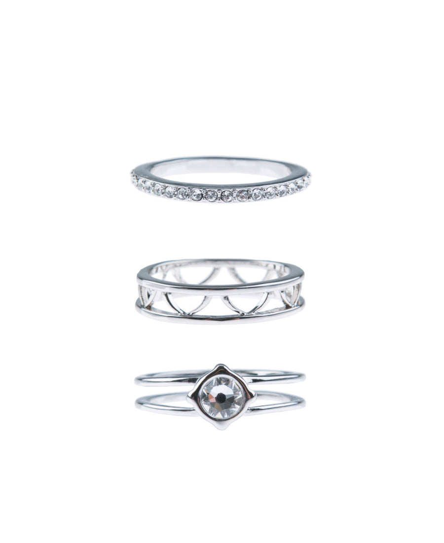 Moments At Midnight Fine Ring Set - Silver
