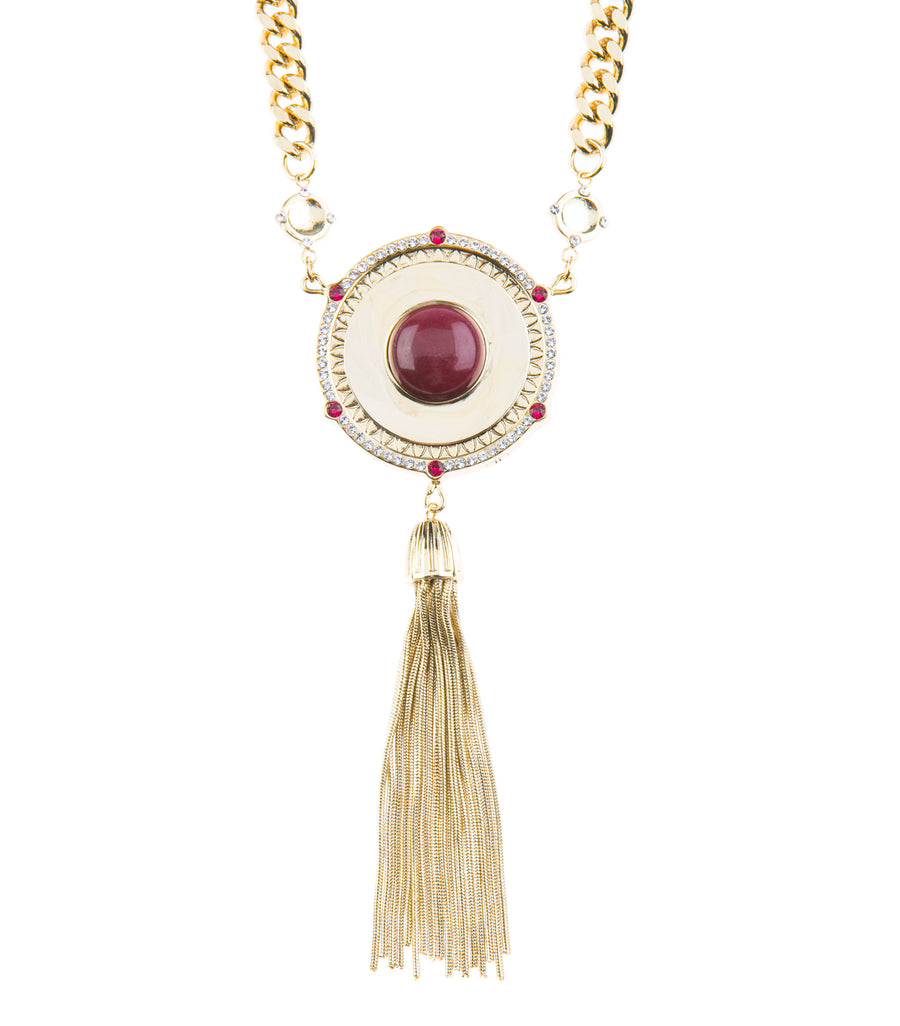 Moments At Midnight Statement Necklace - Gold