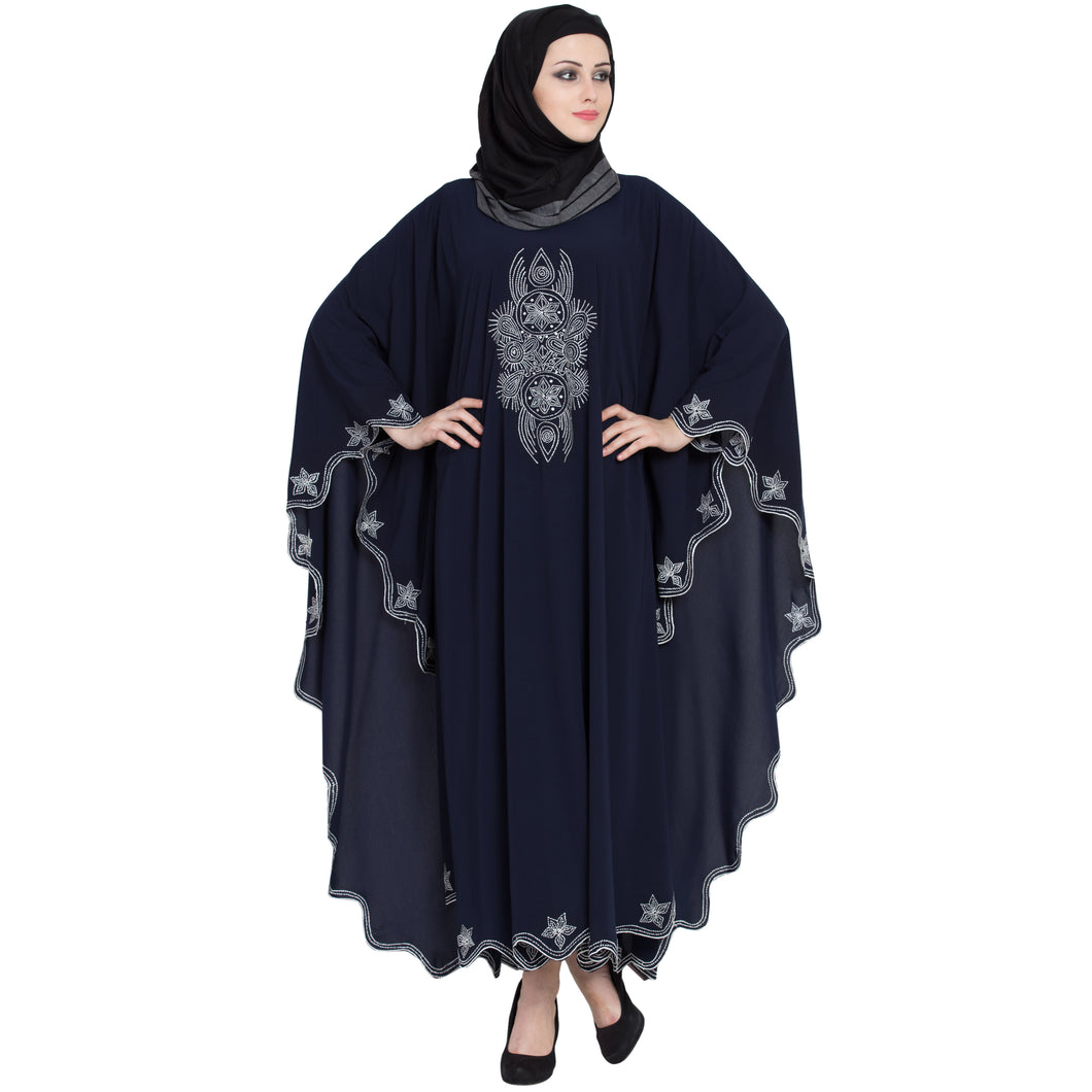 Embroidered Irani style Kaftan abaya- Navy Blue