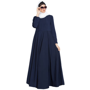 Pleated Umbrella cut abaya- Navy Blue