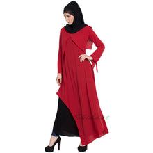 Load image into Gallery viewer, Elegant dress abaya with contrast layer