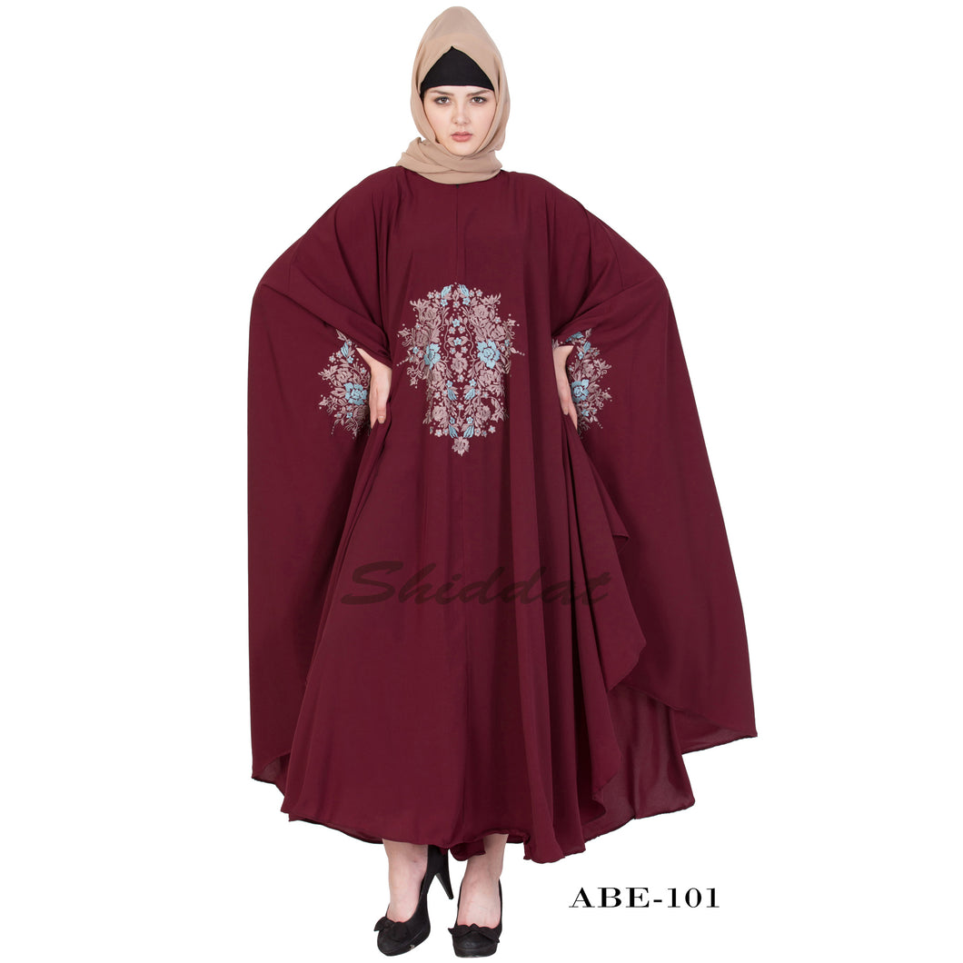 Irani kaftan with embroidery work- Maroon