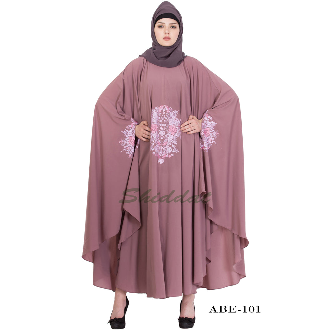Irani kaftan with embroidery work- Puce Pink