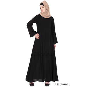 Black solid abaya- Umbrella cut