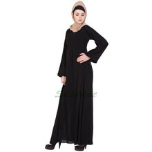 Load image into Gallery viewer, Black solid abaya- Umbrella cut