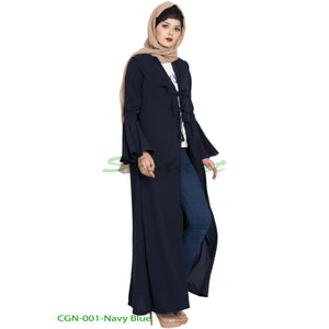Long Cardigan with Frills and Bell Sleeves- Navy Blue