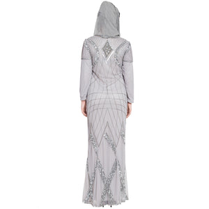 Designer embellished party wear Gown- Silver Grey