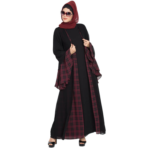 Double layered designer abaya- Black-Maroon