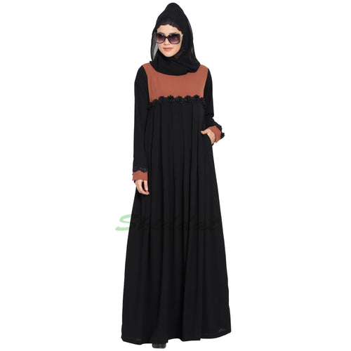 Designer pleated abaya- Black-Rust