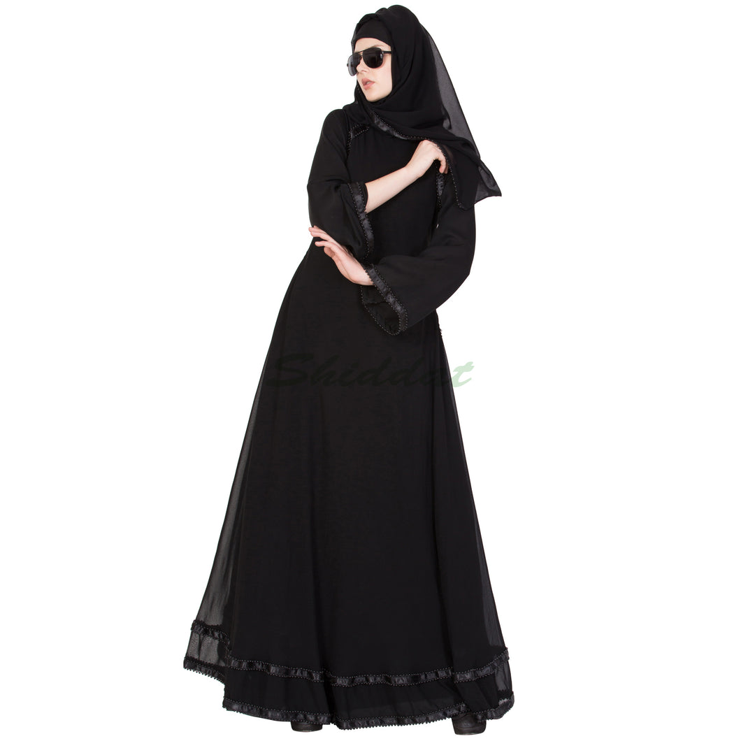 Double layered designer abaya- Black
