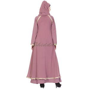 Double layered designer abaya - Puce Pink