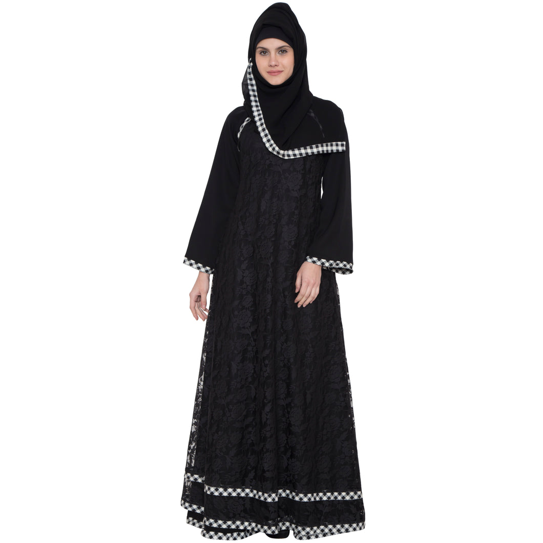Double layered abaya- Black
