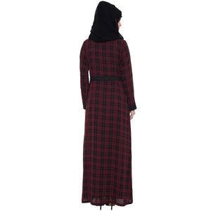 Shrug abaya- Black-Maroon check