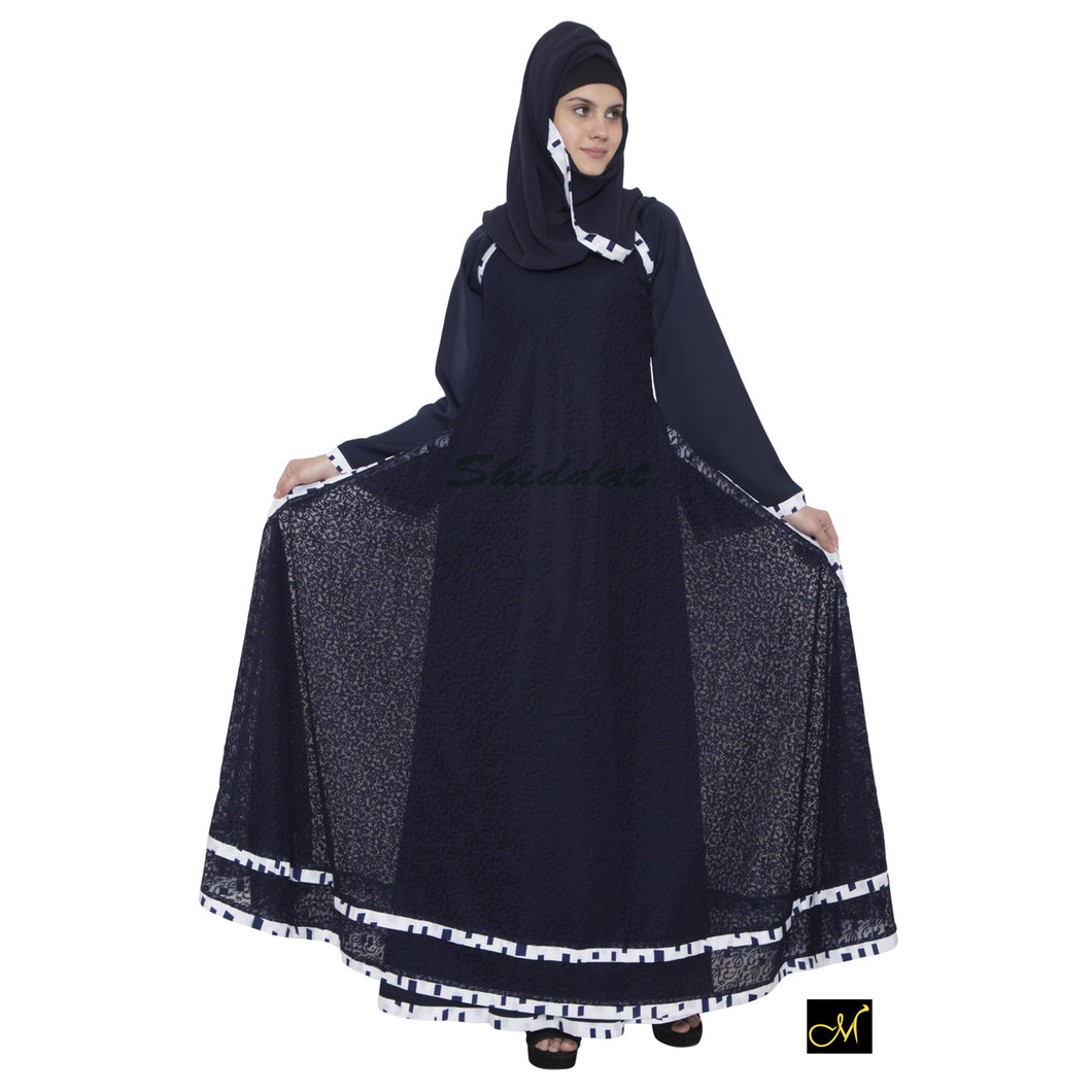 Double layered abaya- Navy Blue