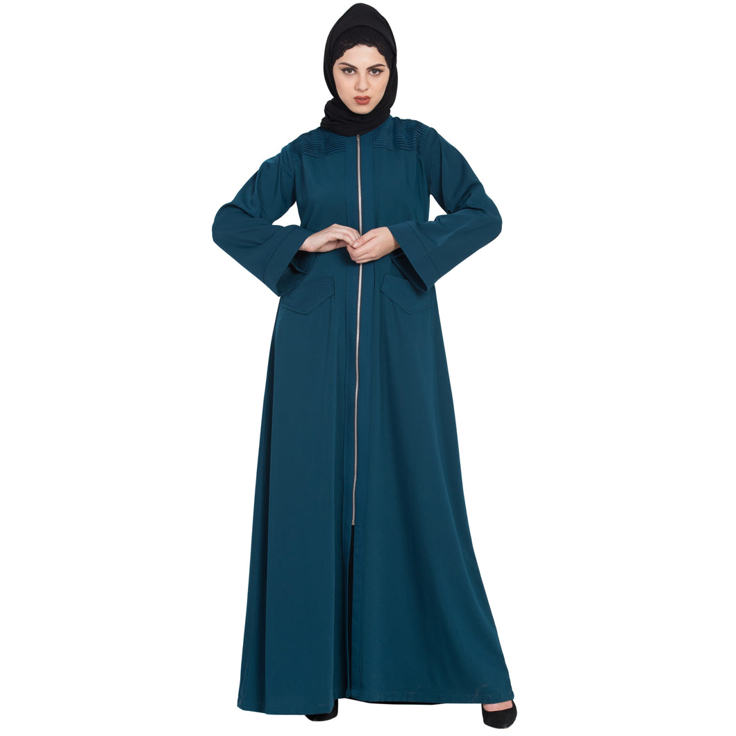Front open Winter abaya with zipper- Midnight Blue