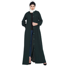 Load image into Gallery viewer, Front open casual abaya- Green