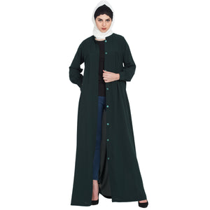 Front open casual abaya- Green