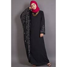 Load image into Gallery viewer, Embroidery abaya with Butterfly sleeve- Black