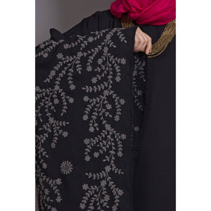 Embroidery abaya with Butterfly sleeve- Black