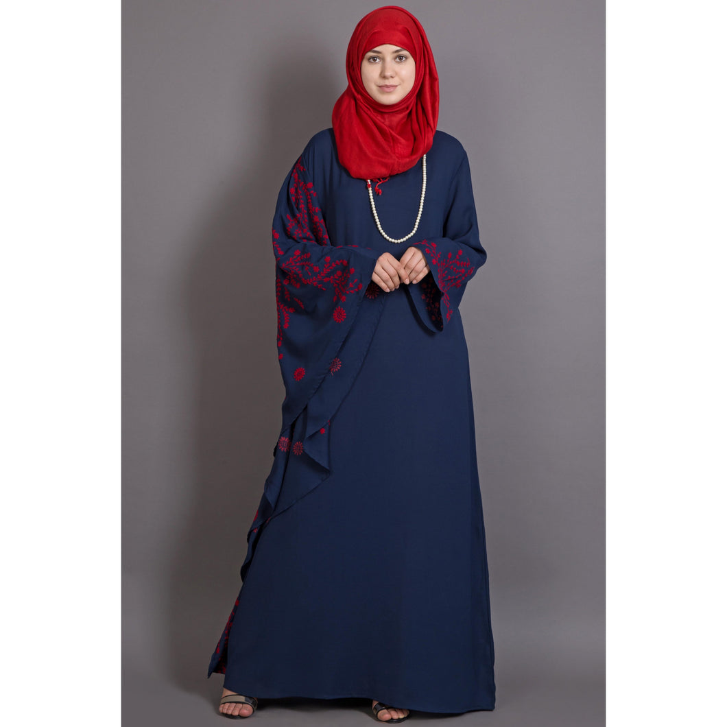Embroidery abaya with Butterfly sleeve- Blue