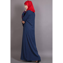 Load image into Gallery viewer, Embroidery abaya with Butterfly sleeve- Blue