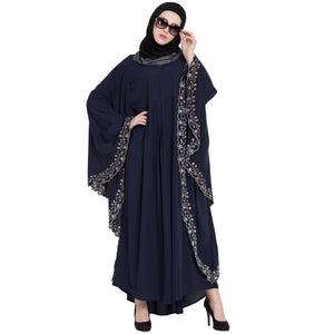 Embroidered Kaftan abaya- Navy Blue