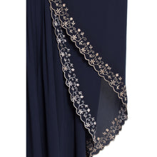 Load image into Gallery viewer, Embroidered Kaftan abaya- Navy Blue