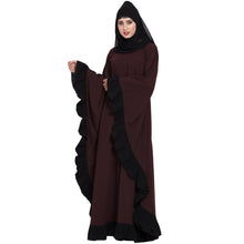 Load image into Gallery viewer, Designer kaftan abaya with Ruffled border- Wine color