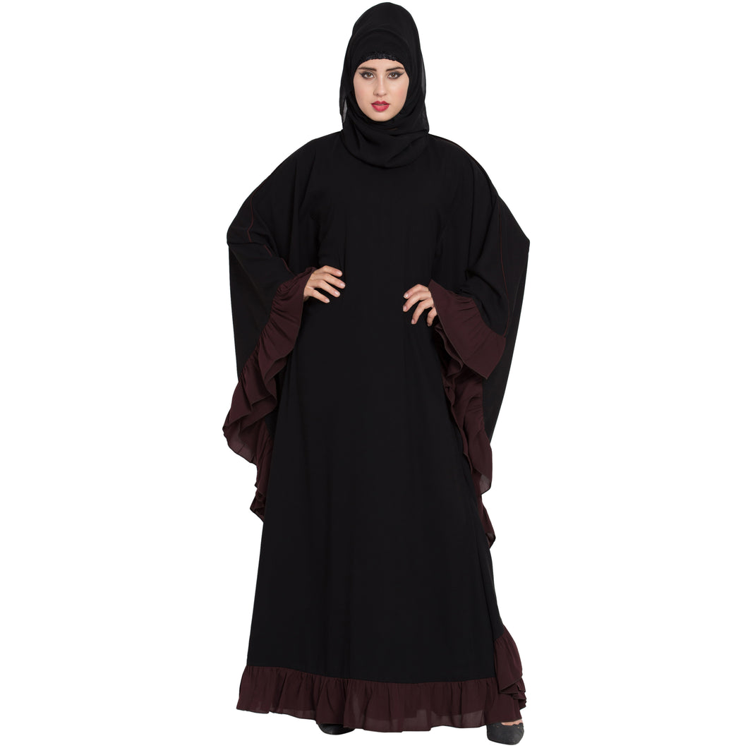 Designer kaftan abaya with Ruffled border- Black
