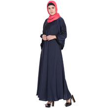 Load image into Gallery viewer, Umbrella abaya with embroidery patchwork- Navy Blue