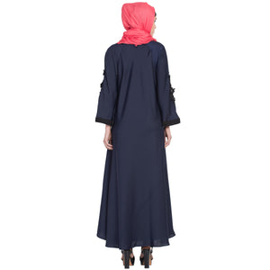 Umbrella abaya with embroidery patchwork- Navy Blue