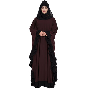 Designer kaftan abaya with Ruffled border- Wine color