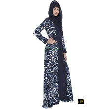 Load image into Gallery viewer, Printed Shrug abaya- Navy-Blue