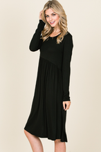 Load image into Gallery viewer, LONG SLEEVE RELAXED FIT DRESS FEATURING SHIRRING AT WAIST