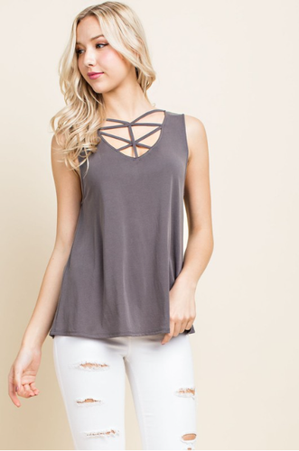 Sleeveless knit tank top with front spaghetti detail