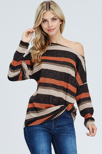 Rust Stripe Twist Top