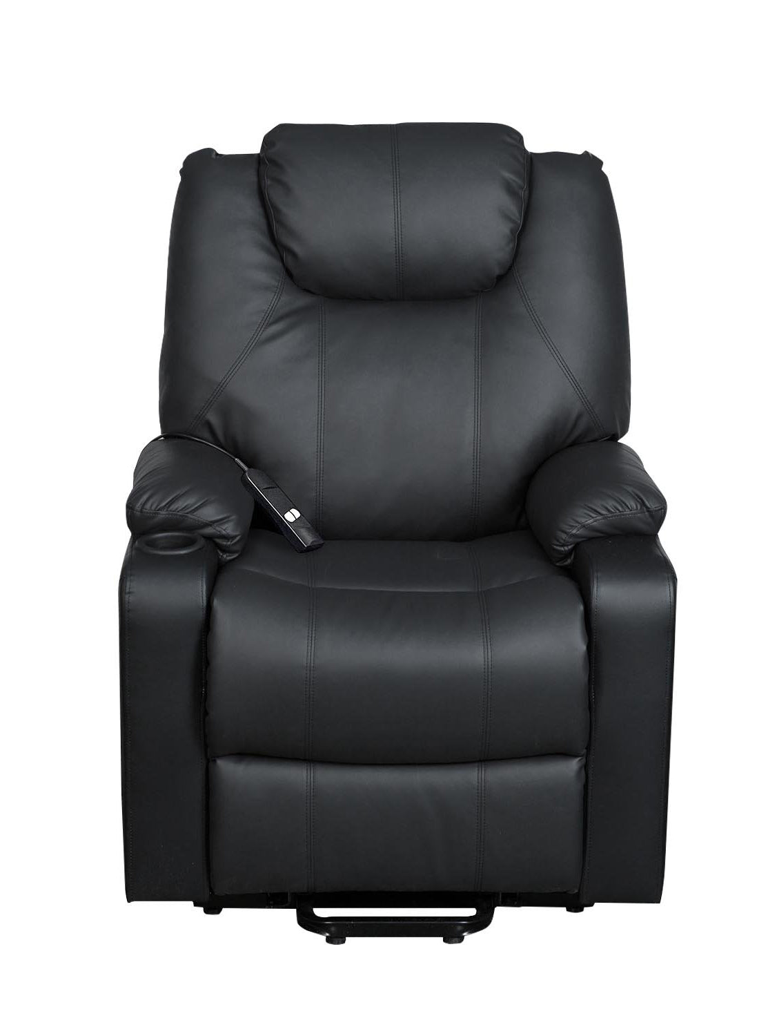 Smugdesk recliner chair Ergonomic lounge chair with cup holders and side pockets,PU leather black