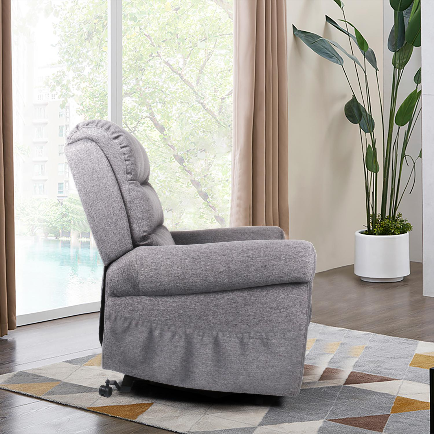 Smugdesk Fabric Recliner Chair, Electric Power Lift Sofa, Modern Single Sofa, Gray