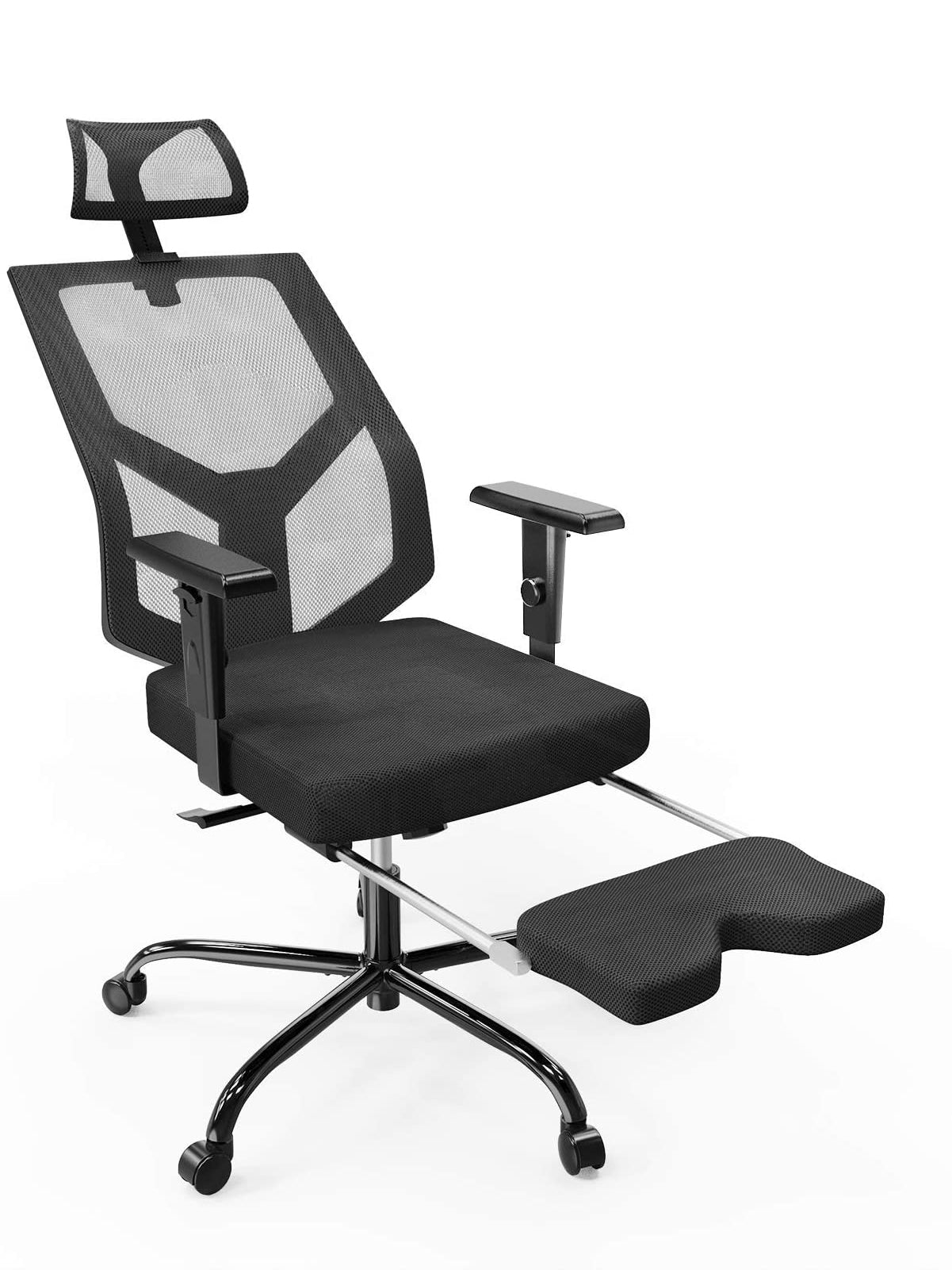 Smugdesk Mesh Ergonomic Chair Adjustable Armrest/Headrest Rotating Chair with Footrest Lounge Chair