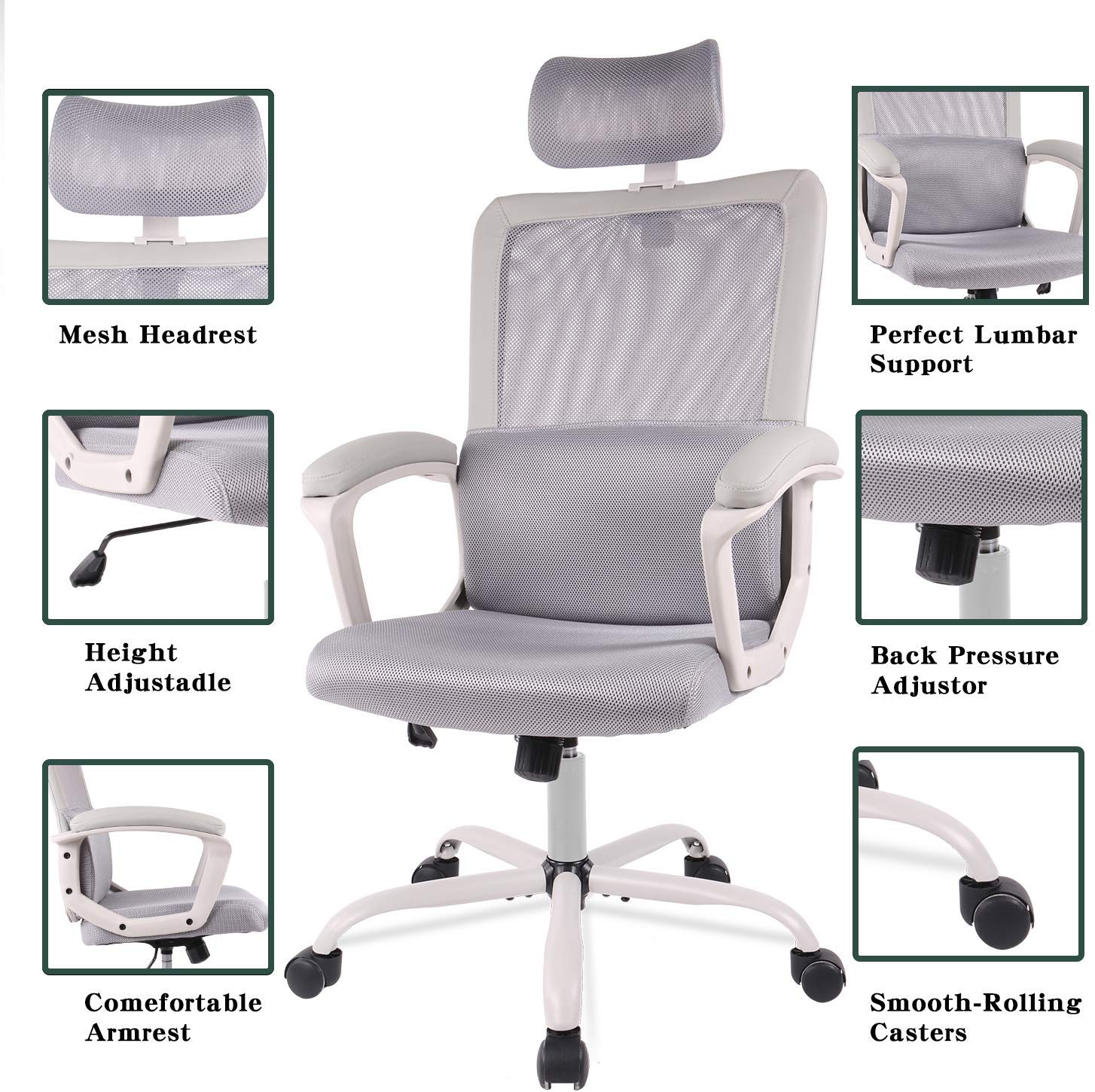 SmugChair Ergonomic Grey Mesh High Back Office Chair