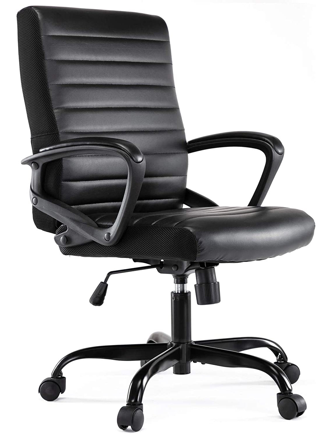SMUGDESK Ergonomic Office Chair PU Leather Desk Executive Adjustable Task Chair Black