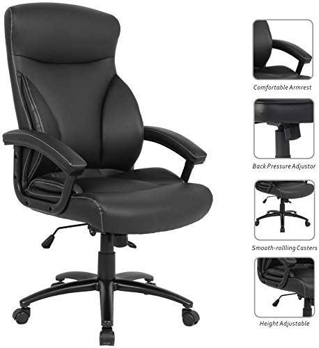 Executive Office Ergonomic Heavy Duty Computer Bonded Leather Adjustable Desk Chair, Black
