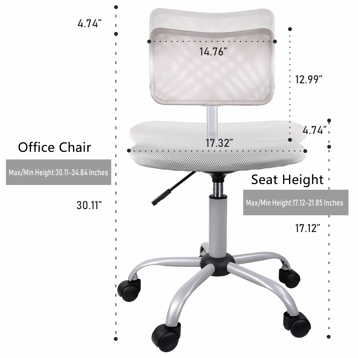 SmugChair Armless Mesh Mid Back Office Chair