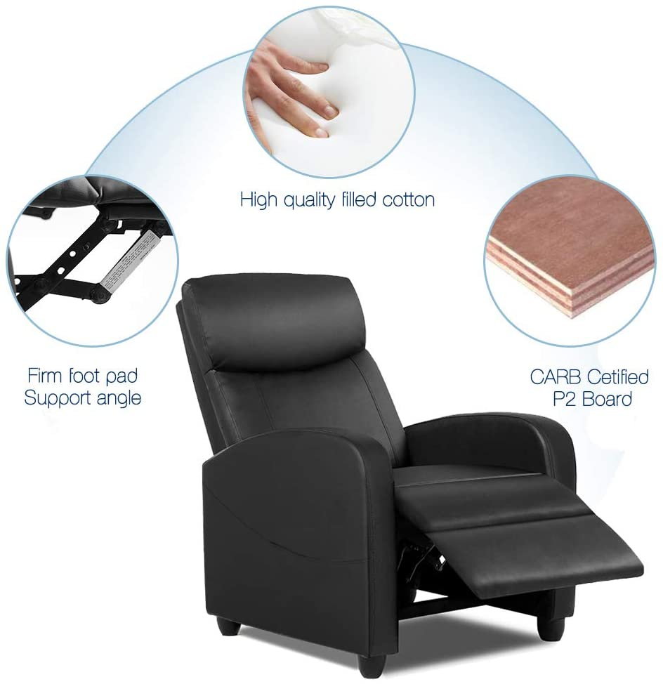 Smugdesk Recliner Sofa Chair, Reclining Chair with PU Leather Padded Seat Backrest Black
