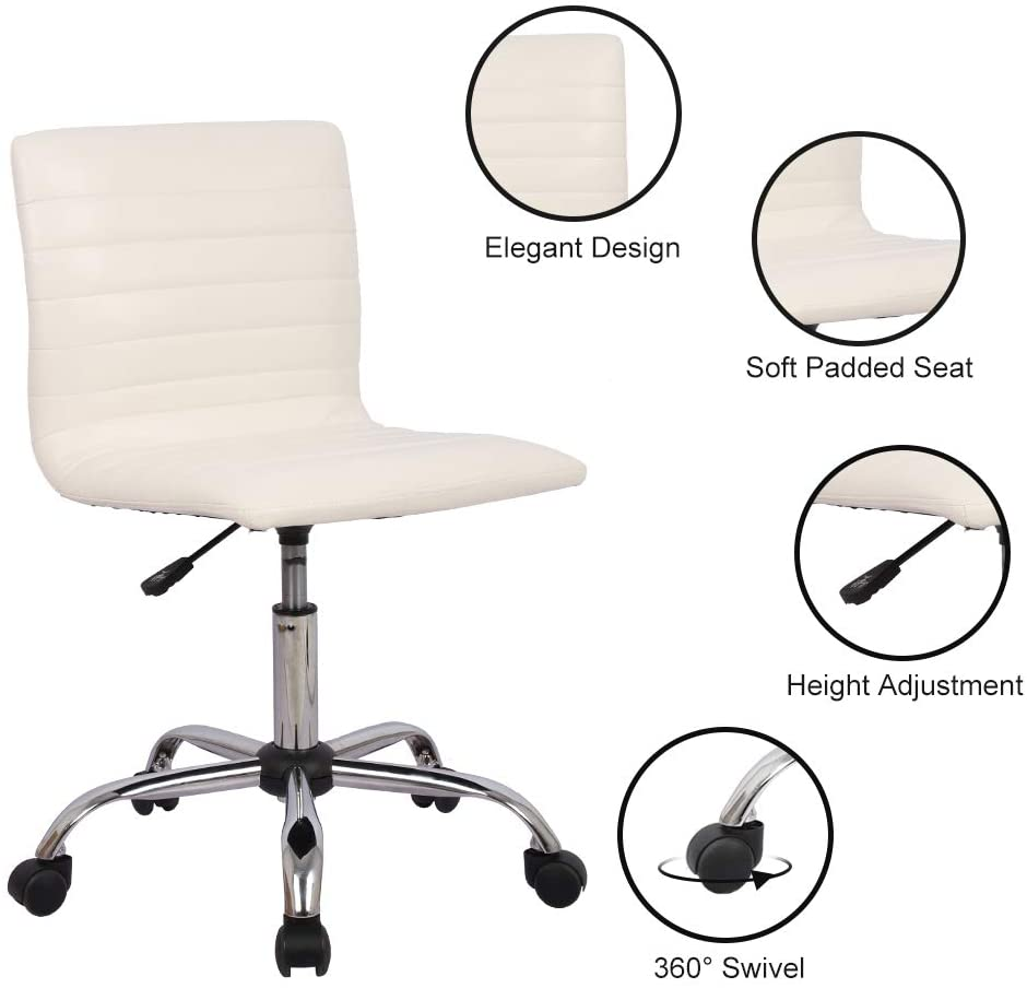 Smugdesk Home Office Chair, Computer Chair Armless Swivel Conference Room Task Desk Chairs, White