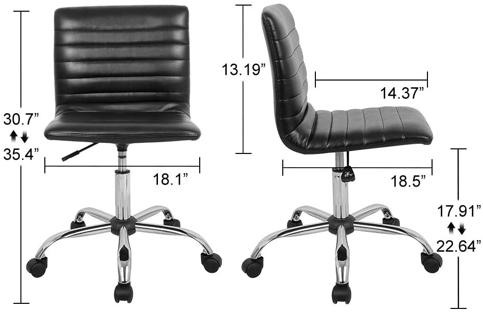 Smugdesk Home Office Chair, Computer Chair Armless Swivel Conference Room Task Desk Chairs, Black